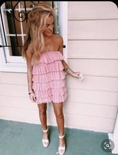 dress,pink ruffle tule