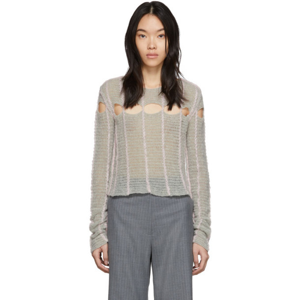 Eckhaus Latta Grey Peaking Sweater