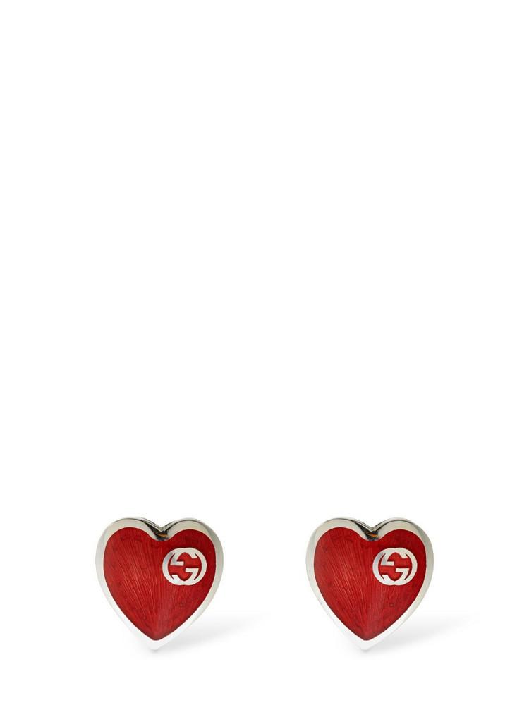 GUCCI Interlocking G Enamel Heart Earrings in red