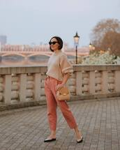 sweater,turtleneck sweater,mules,brown bag,high waisted pants,straight pants