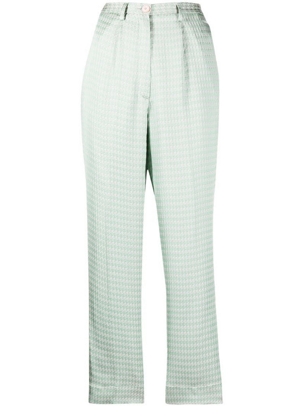 Forte Forte high-rise houndstooth-print cropped trousers in green