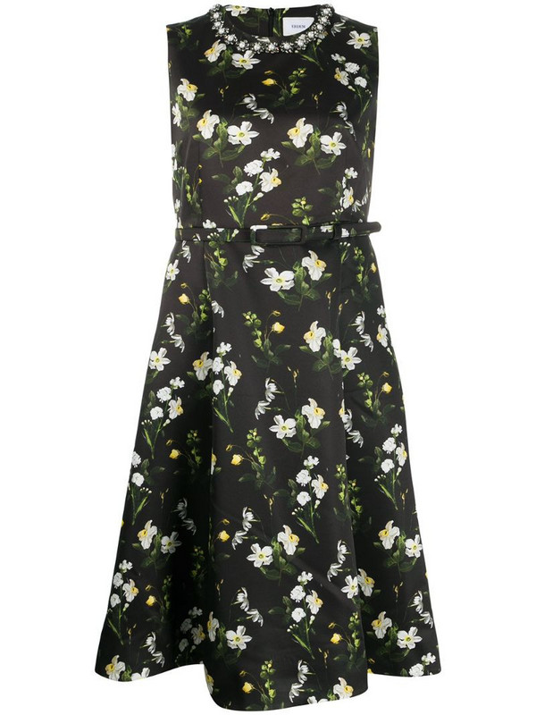 Erdem floral print flared dress in black