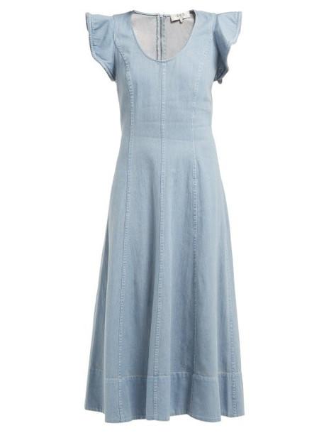 Sea - Stella Flared Denim Midi Dress - Womens - Denim