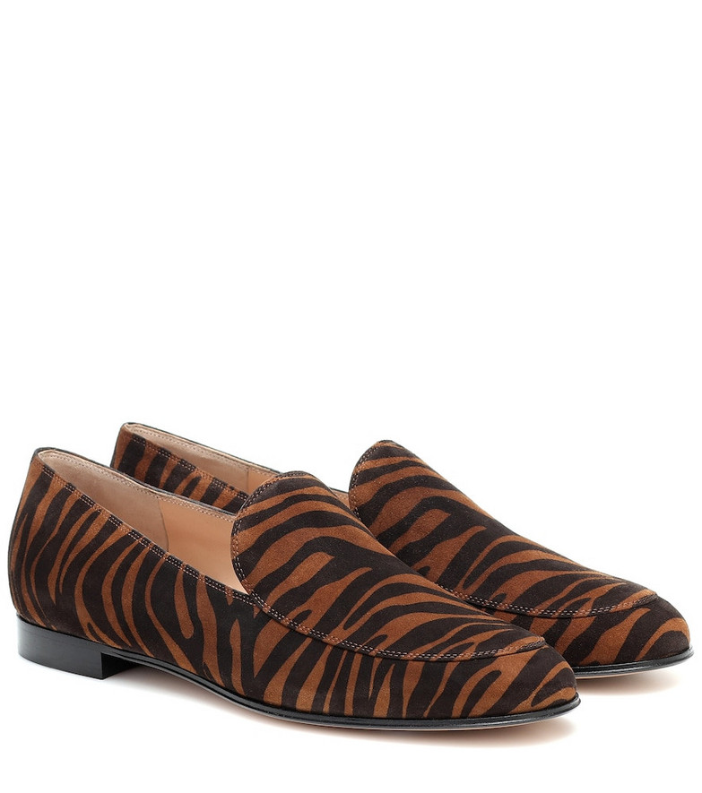 Gianvito Rossi Marcel zebra-print suede loafers in brown