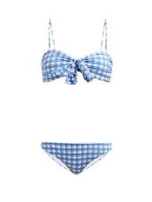 bikini,print,blue,gingham,swimwear