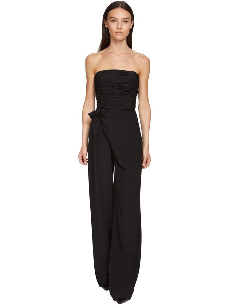 ERMANNO SCERVINO Strapless Wide Leg Cady Jumpsuit in black