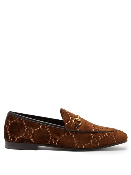 Gucci - Jordaan Logo Jacquard Velvet Loafers - Womens - Brown