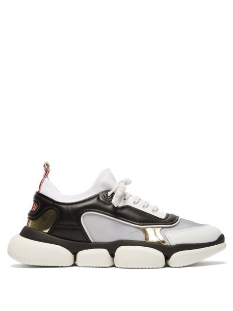 Moncler - Briseis Metallic And Mesh Low Top Trainers - Womens - Black Silver