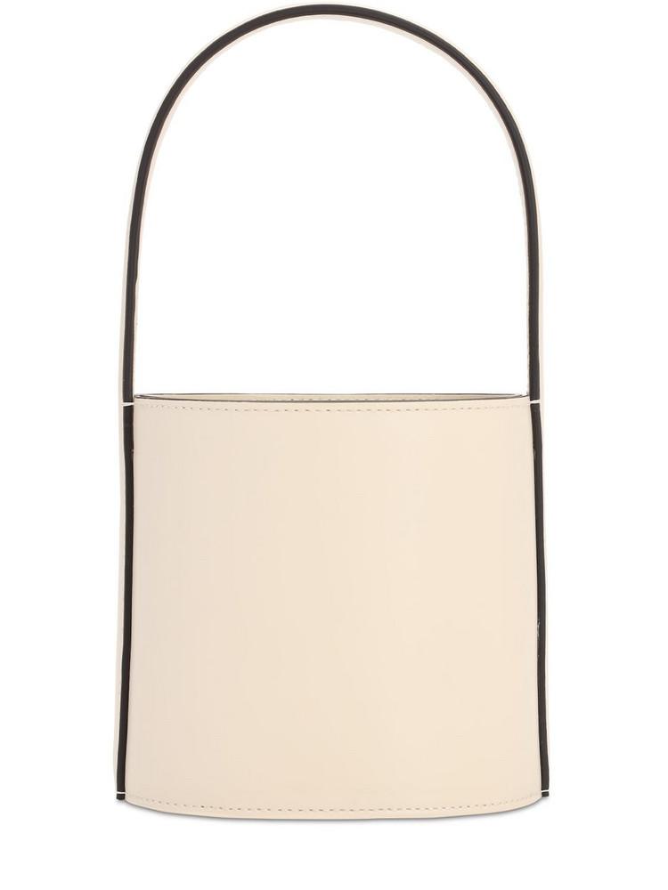 STAUD Mini Bissett Leather Bucket Bag in cream