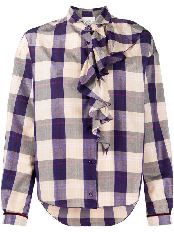 Forte Forte check-print ruffled blouse in purple