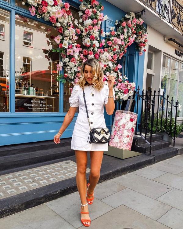 dress white dress short sleeve dress mini dress sandals gucci bag