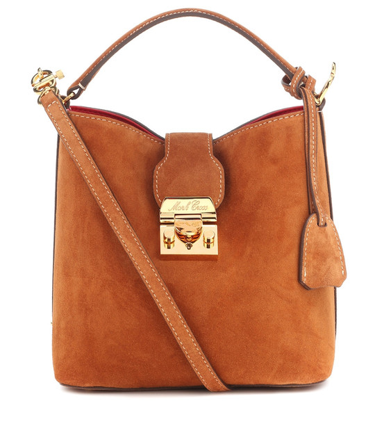 Mark Cross Murphy Small suede bucket bag in brown