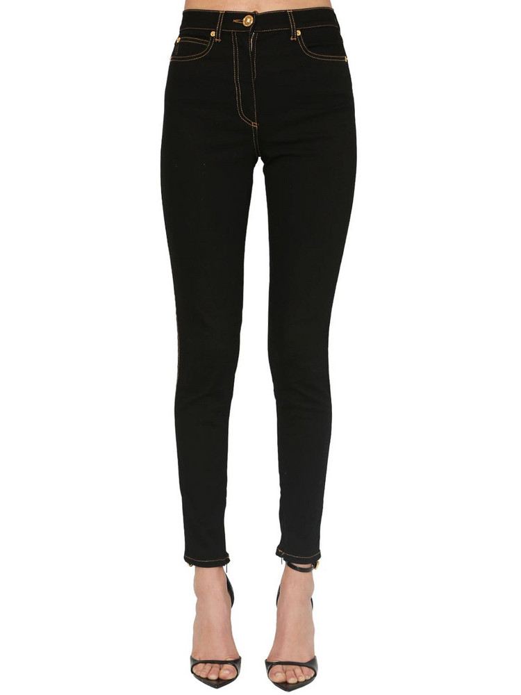 VERSACE High Waist Skinny Stretch Denim Jeans in black