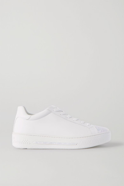 René Caovilla - Crystal-embellished Leather Sneakers - White