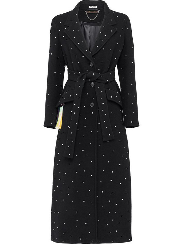 Miu Miu crystal-embellished coat in black