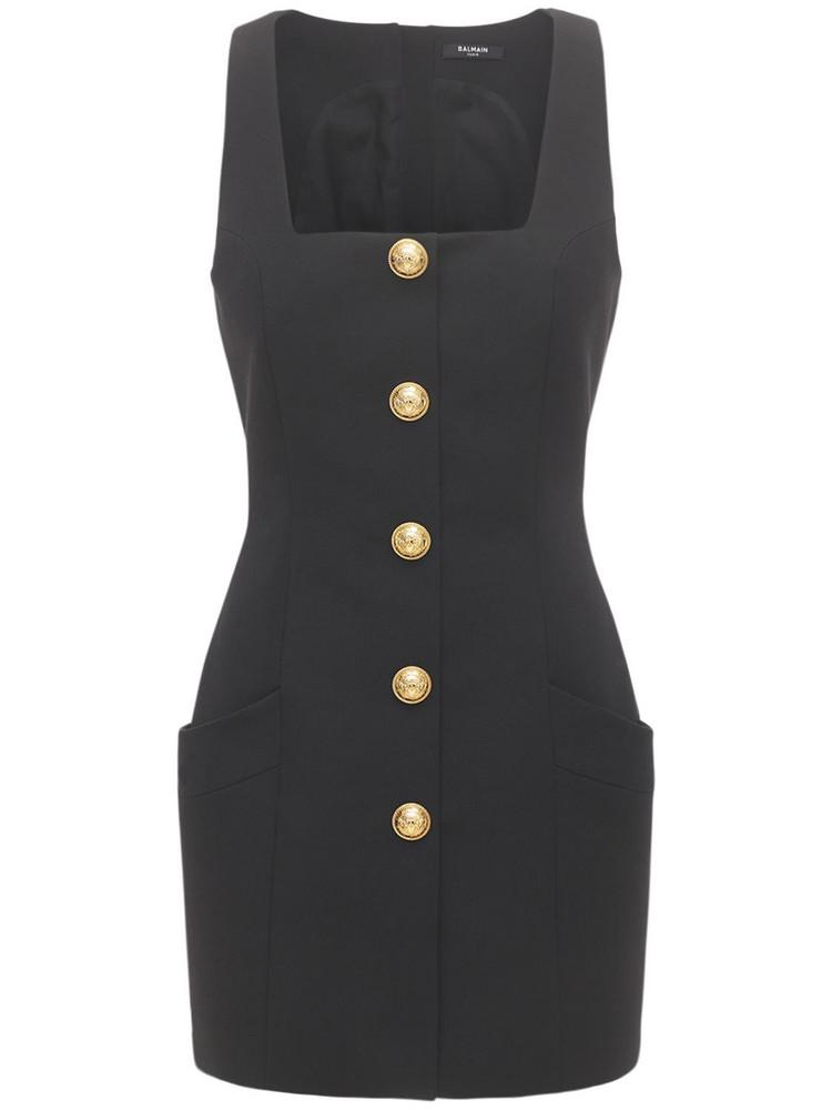 BALMAIN Buttoned Wool Grain De Poudre Mini Dress in black