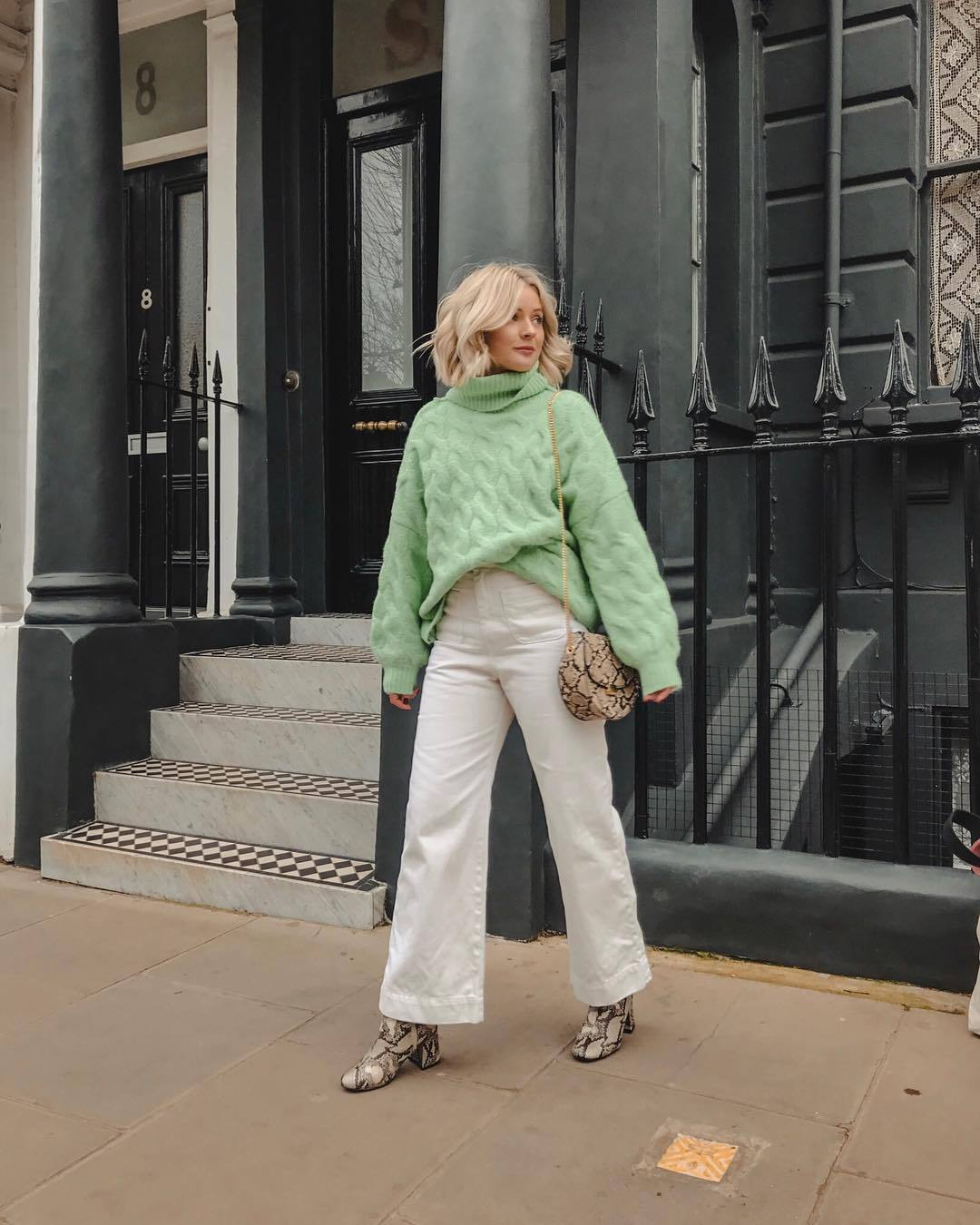 sweater turtleneck sweater knitted sweater wide-leg pants white pants snake print heel boots crossbody bag