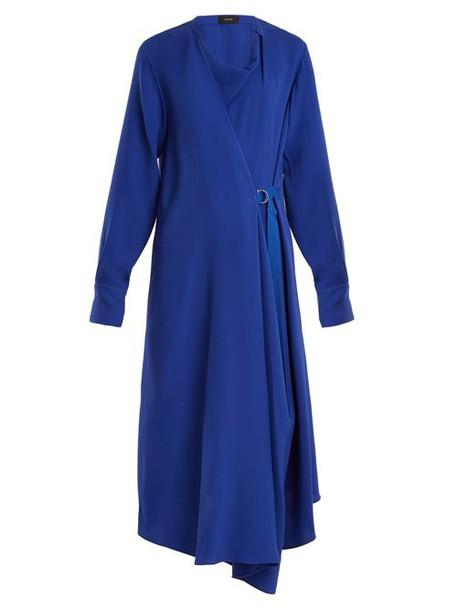 Joseph - Arran Waist Tie Draped Silk Crepe Dress - Womens - Blue