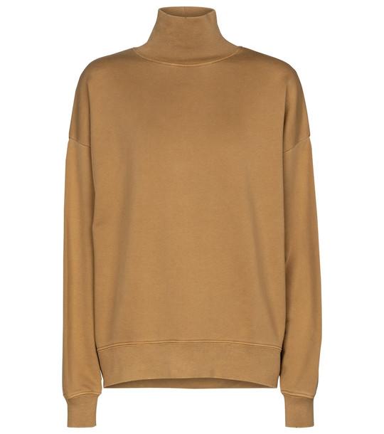 Frame Funnel-neck cotton sweatshirt in beige