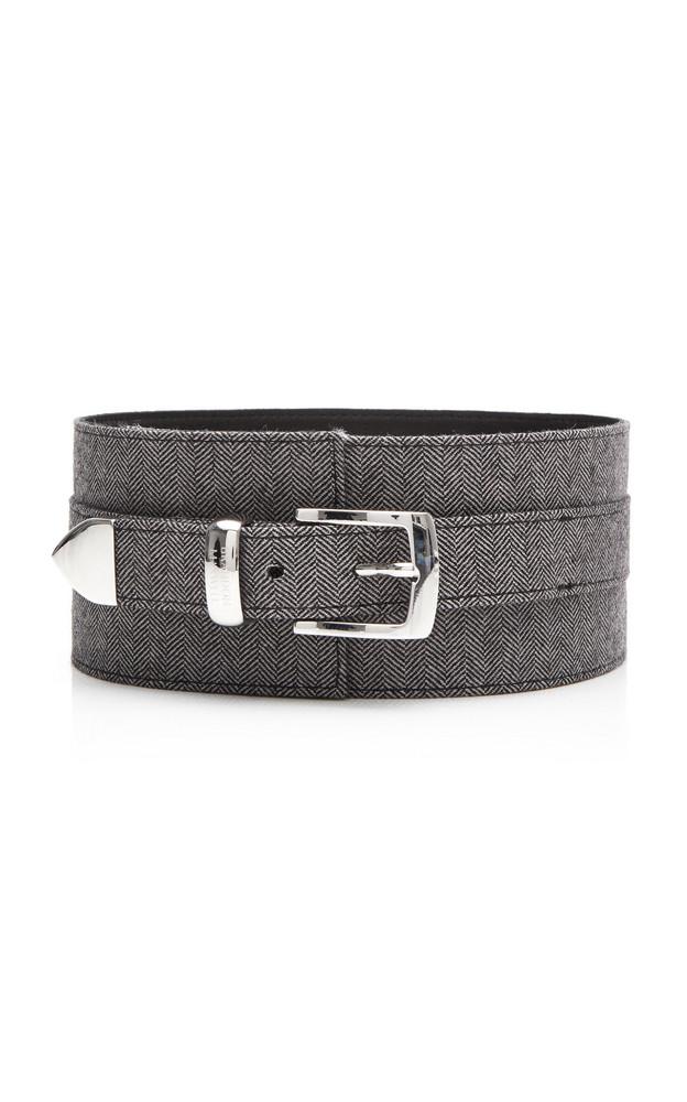 Brandon Maxwell Wide Herringbone Leather Belt in grey