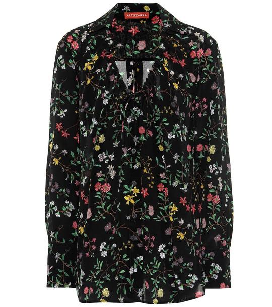 Altuzarra Bowie floral silk blouse in black