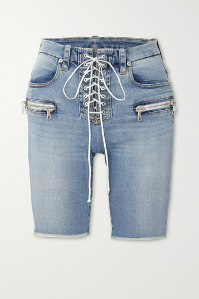 Unravel Project - Lace-up Frayed Denim Shorts - Blue