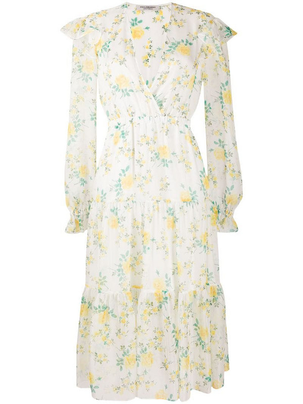 Philosophy Di Lorenzo Serafini tiered floral-print chiffon midi dress in neutrals