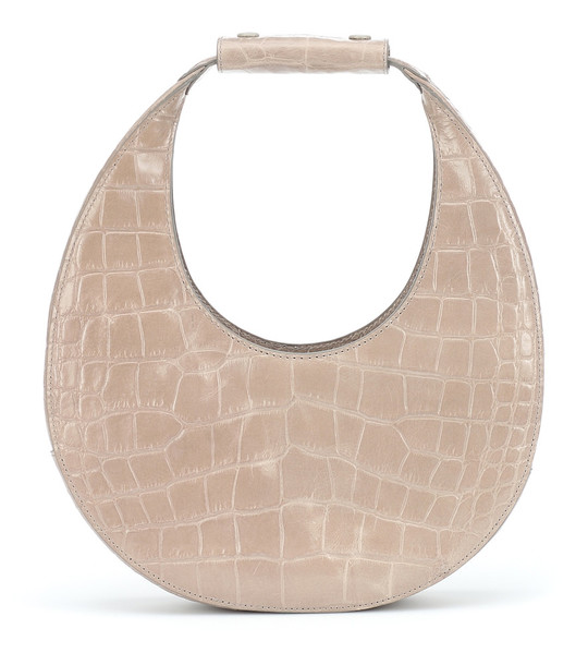 Staud Moon embossed leather shoulder bag in beige