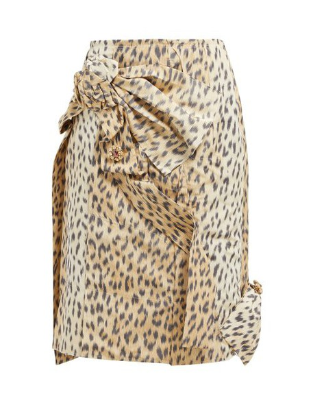 Calvin Klein 205w39nyc - Brooch Embellished Leopard Print Silk Skirt - Womens - Leopard
