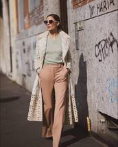 pants,high waisted pants,flare pants,embellished,fendi,long coat,knitted sweater