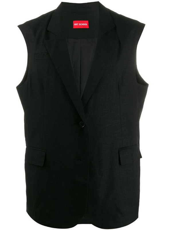 Art School double breasted sleeveless blazer in black
