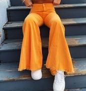jeans,yellow,mustard,bell bottoms