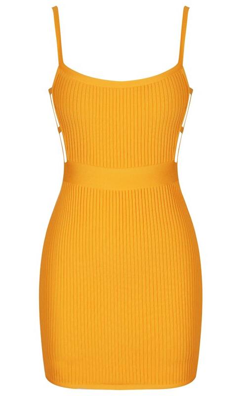 Strappy Ribbed Mini Bandage Dress Amber