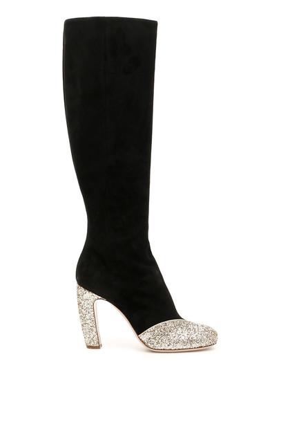 Miu Miu Boots With Glitter Details in black