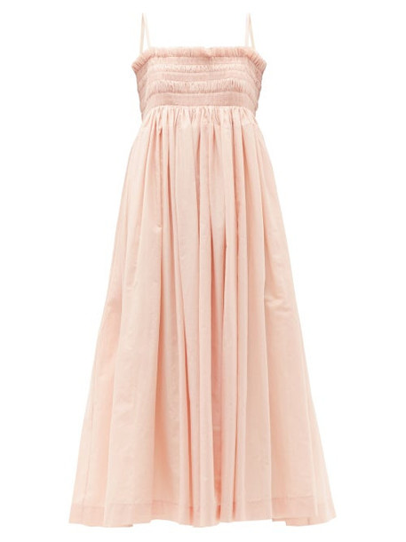 Molly Goddard - Becky Hand-smocked Cotton-voile Dress - Womens - Light Pink