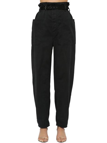 ISABEL MARANT ÉTOILE Rinny High Waist Canvas Pants in black