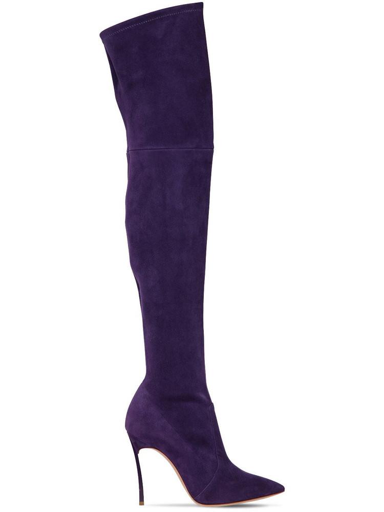 CASADEI 100mm Blade Stretch Suede Boots in purple