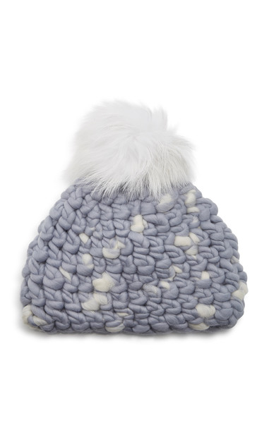 Mischa Lampert Speckled Wool Pom-Pom Beanie in blue