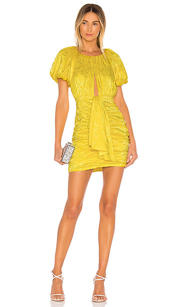 For Love & Lemons Fiji Mini Dress in Yellow