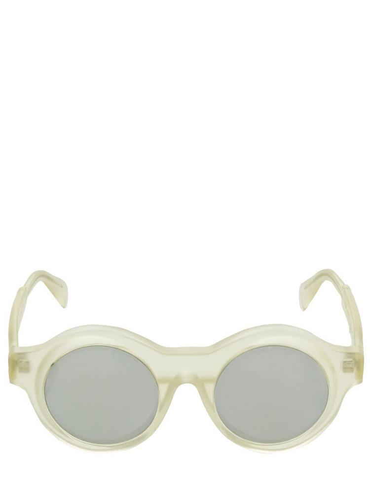 KUBORAUM BERLIN A1 Matte Frame Round Acetate Sunglasses in silver / transparent