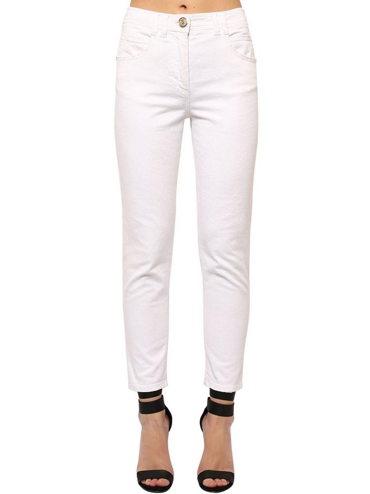 BALMAIN Slim Cotton Blend Denim Jeans in white
