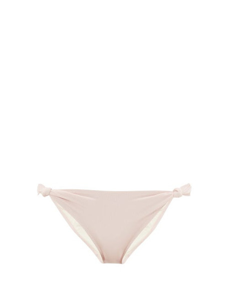 Solid & Striped - Jade Knotted Ribbed Jersey Bikini Briefs - Womens - Light Pink