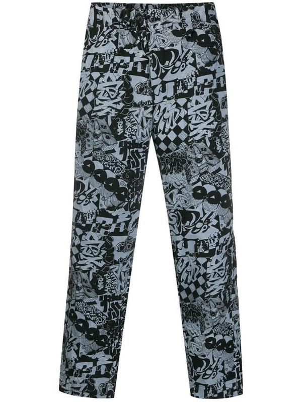 Black Comme Des Garçons graffiti print straight-leg trousers in black
