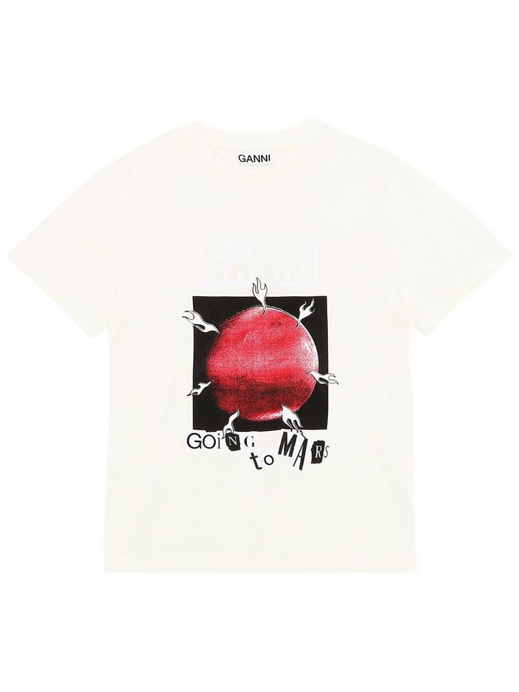 GANNI Mars Organic Cotton T-shirt in ivory / multi