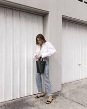 bag,black bag,bucket bag,jeans,denim,shirt,white shirt