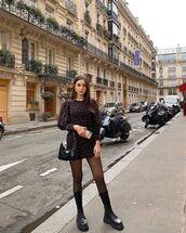 shoes,black boots,over the knee boots,zara,tights,mini dress,prada bag