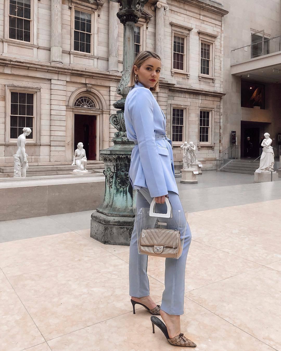 shoes mules gucci blue pants transparent  bag gucci bag blazer