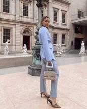 shoes,mules,gucci,blue pants,transparent  bag,gucci bag,blazer