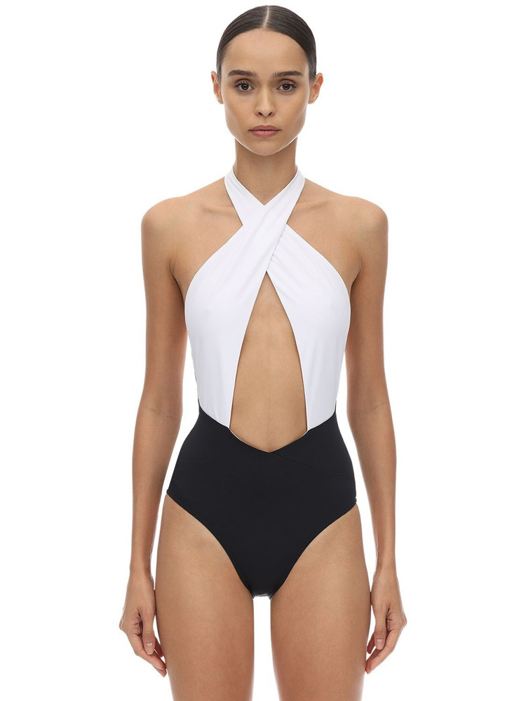 BALMAIN Bicolor Lycra One Piece Swimsuit in black / white