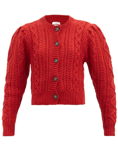Isabel Marant Étoile - Rianne Cropped Cable-knit Wool Cardigan - Womens - Red